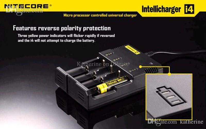 Original Nitecore I2 I4 D2 D4 UM10 UM20 Universal Intellicharger LCD Display E Cigarettes Charger for 18650 18350 18500 14500 Li-on Battery