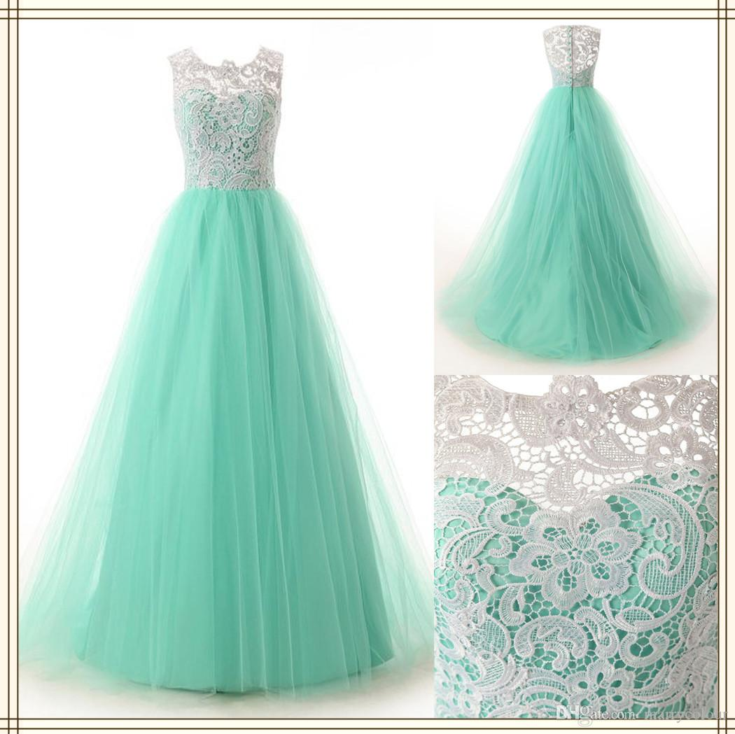 Hot sale white lace mint green bridesmaid dresses long tulle prom see larger image ombrellifo Gallery