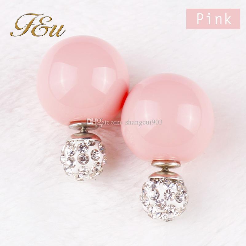 Мода горячей продажи 2015 новые продукты двойной жемчуг серьги стержня перлы с Кристалл шарик шпильки 810