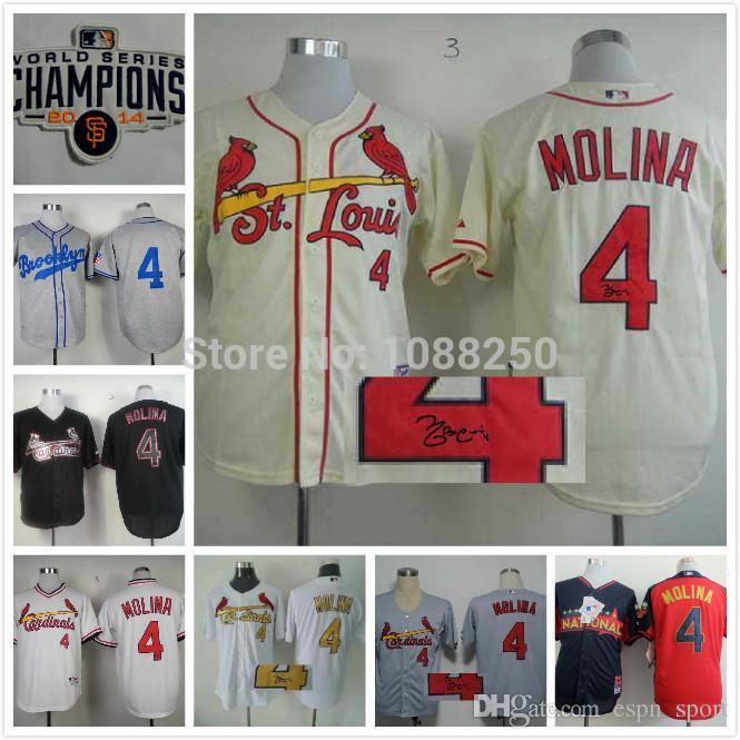 2016 New 2015 St. Louis Cardinals Signature  4 Yadier Molina Signed Baseball  Wholesale Cream Signature Jerseys Size 48-56 Can Jerseys Xxl Jersey Knit  Fabric ... 9eb638eb7