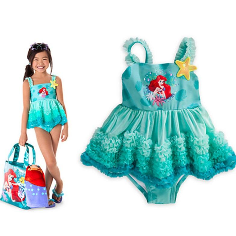 6d1dce5ea 2015 Cartoon Swimsuit Tutu Lace Dress Little Mermaid Swimming Suit ...