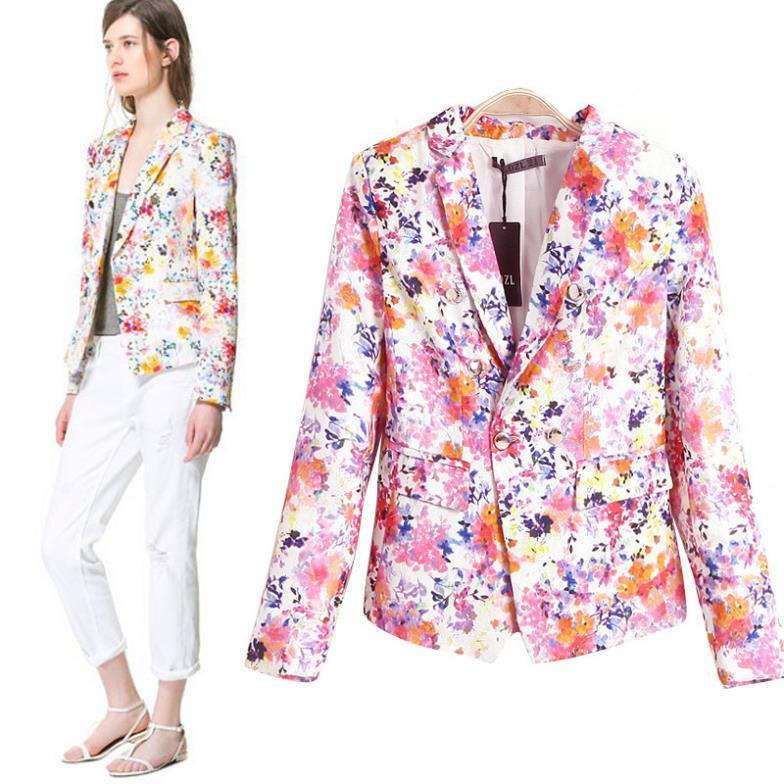 c87b74a4324 spring Floral print blazer women casual cardigans blaser new fashion  vestidos femininos long sleeve pink Blazers jacket
