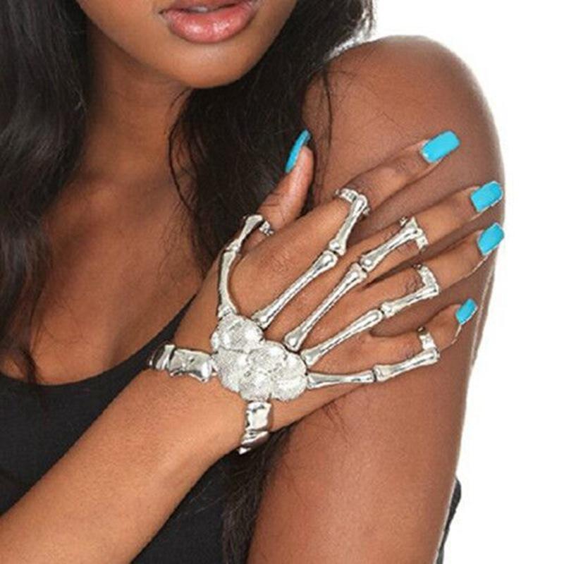 New Fashion Jewelry Cuff Bangle Charm Bracelets Women Hand Chain Silver Skull Fingers Metal Skeleton Slave Bracelet Ring Imitation Aiptasia