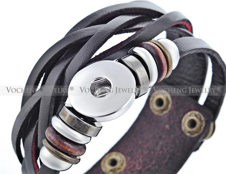 Vocheng NOOSA Bracelet Wholesale Mix Colors Snap Jewelry Genuine Leather 18mm Metal Button Snap Charm NN-358