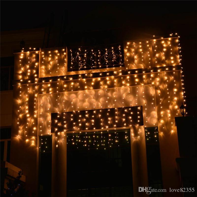 도매 야외 5M x 3M 500 LED 요정 문자열 커튼 조명 야외 옥내 가정 정원 크리스마스 파티 결혼식 110V - 240V에 이상적
