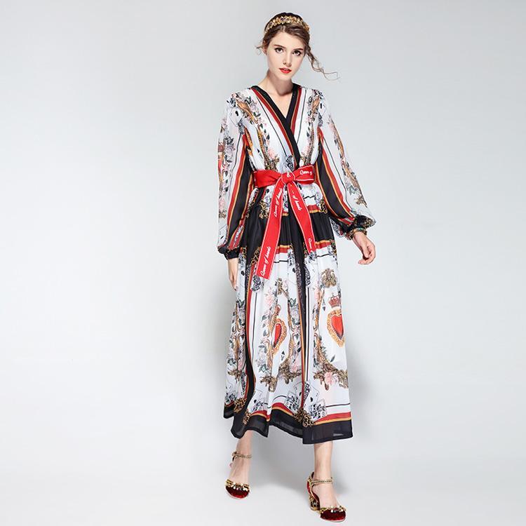 Yeni Varış kadın Seksi V Boyun Karakterler Baskılı Mektuplar Kanat Bow Kemer Moda Yüksek Sokak Orta Buzağı Pist Elbiseler
