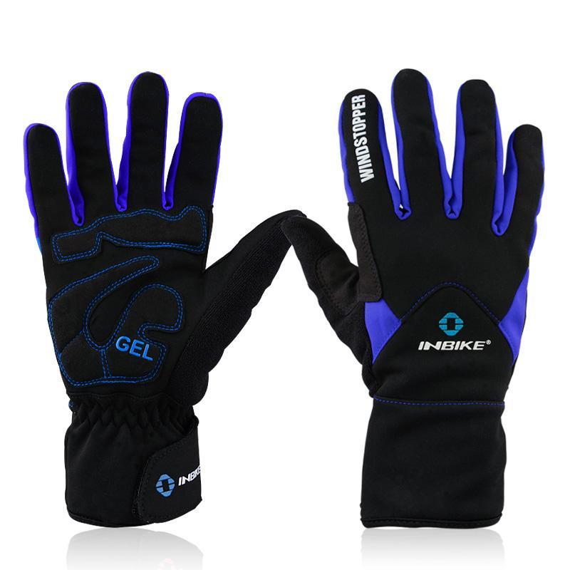Rowerowe rowerowe rowerowe rękawice z żelem zima windstopper rękawica rozmiar m - 2xl kolor niebieski / czerwony