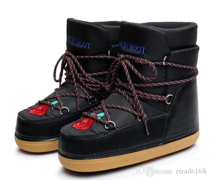 2018 Winter New Women boots Europe America style fashion Straps embroidered Thick bottom lovely Short Space boots snow boots