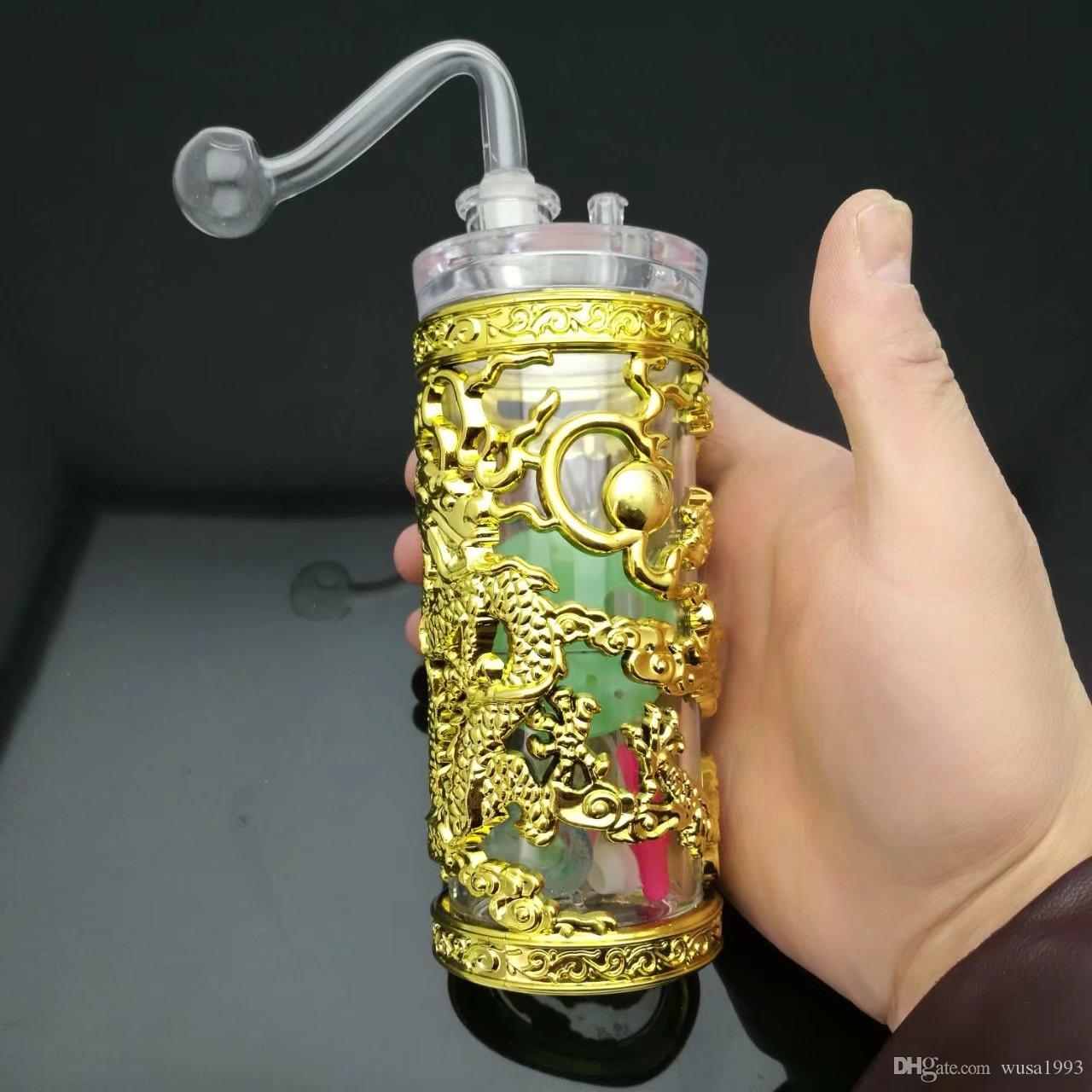 wholesalers ----- 2015 new Cylindrical Panlong Acrylic Hookah, size 14 * 5cm, accessories pot, walk the plank, straw