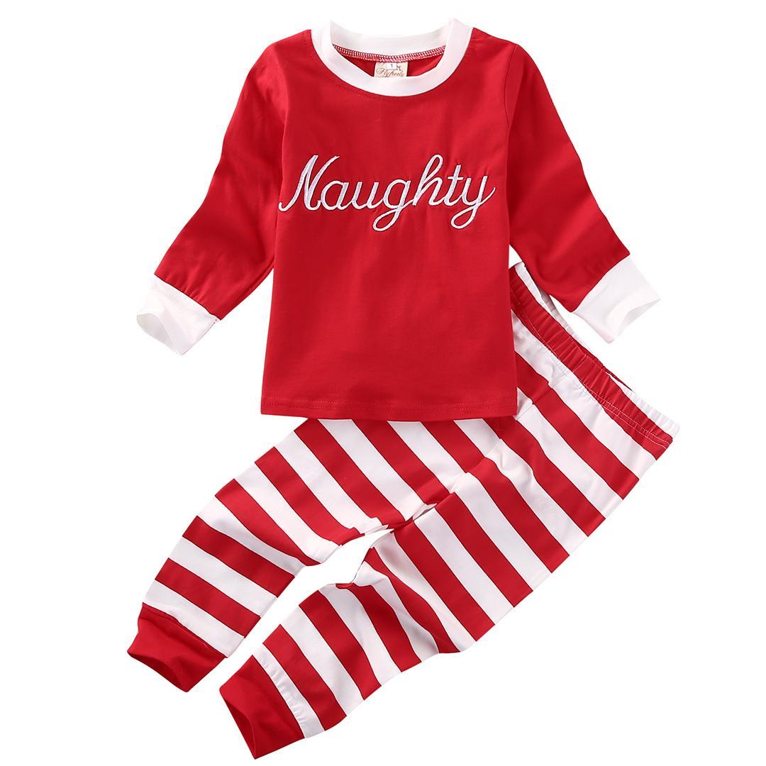 kids christmas pajamas set long sleeve pijamas children girls boys sleepwear playsuit letter naughty nice baby pyjamas boys xmas pyjamas from runbaby