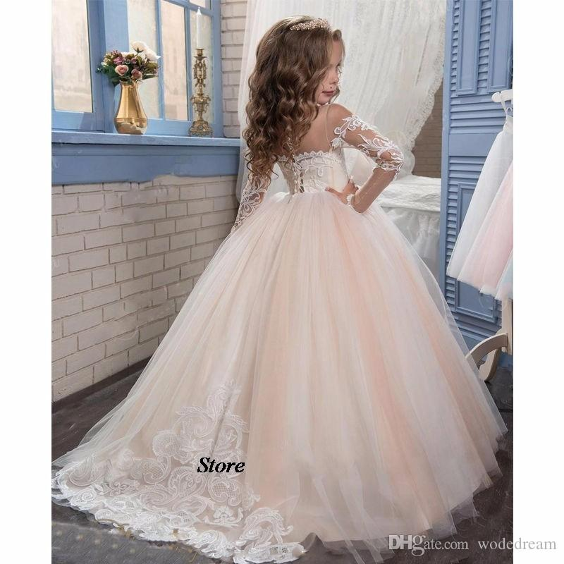 2020 Romantique Champagne Puffy Dentelle Robe de fille pour les mariages organza robe de bal Girl Party Communion robe Pageant robe