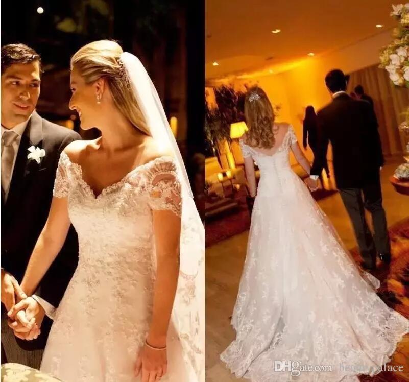 Ilusão Vestido de Casamento Fora Do Ombro Completa Rendas Apliques Cap Mangas Vestidos De Casamento Sexy Traseira Varrer Trem Plus Size A Linha de Vestidos de Noiva
