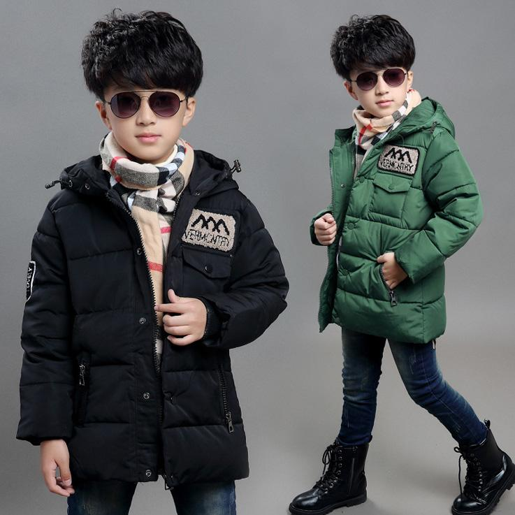 140b3f1cba81 Boys Hooded Winter Jacket Children Baby Coat Leisure Cool Fashion ...
