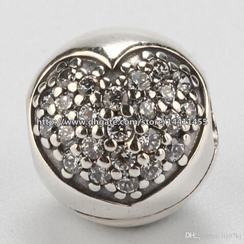 925 Sterling Silver Pave Heart Clip Charm Pead With Cubic Zirconia Passar European Pandora Smycken Armband Halsband Pendants