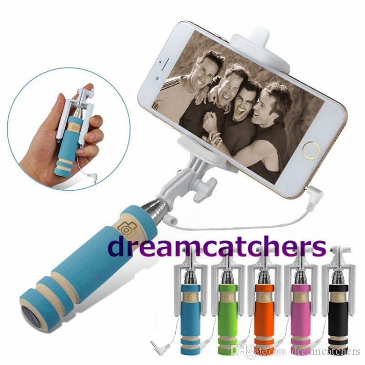 Super Mini Wired Selfie Stick Handheld Monopod Extendable Foldable Holder With Cable for Sansung S6 Edge for iphone 6 6s for HTC