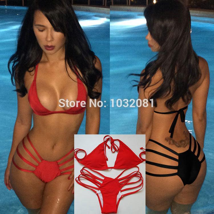 Traje Mujeres V73 De Nueva Bañador Rojo String 2015 Bikini Biquini Strappy Baño Bain Moda Sexy Maillot Negro 5jq4R3AL