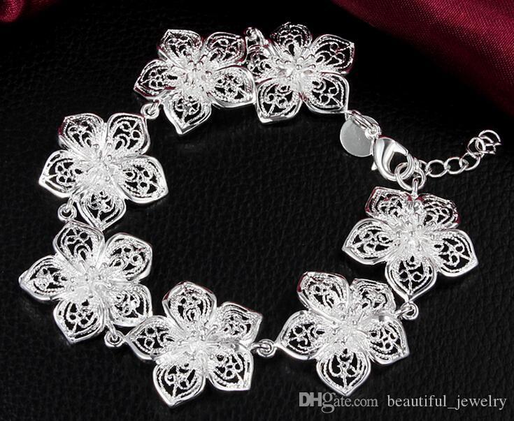 Lady/girl vogue Jewlery 925 sterling silver plating Charm pendant lotus blossom bracelets Shrimp buckle bracelet 10pcs/lot