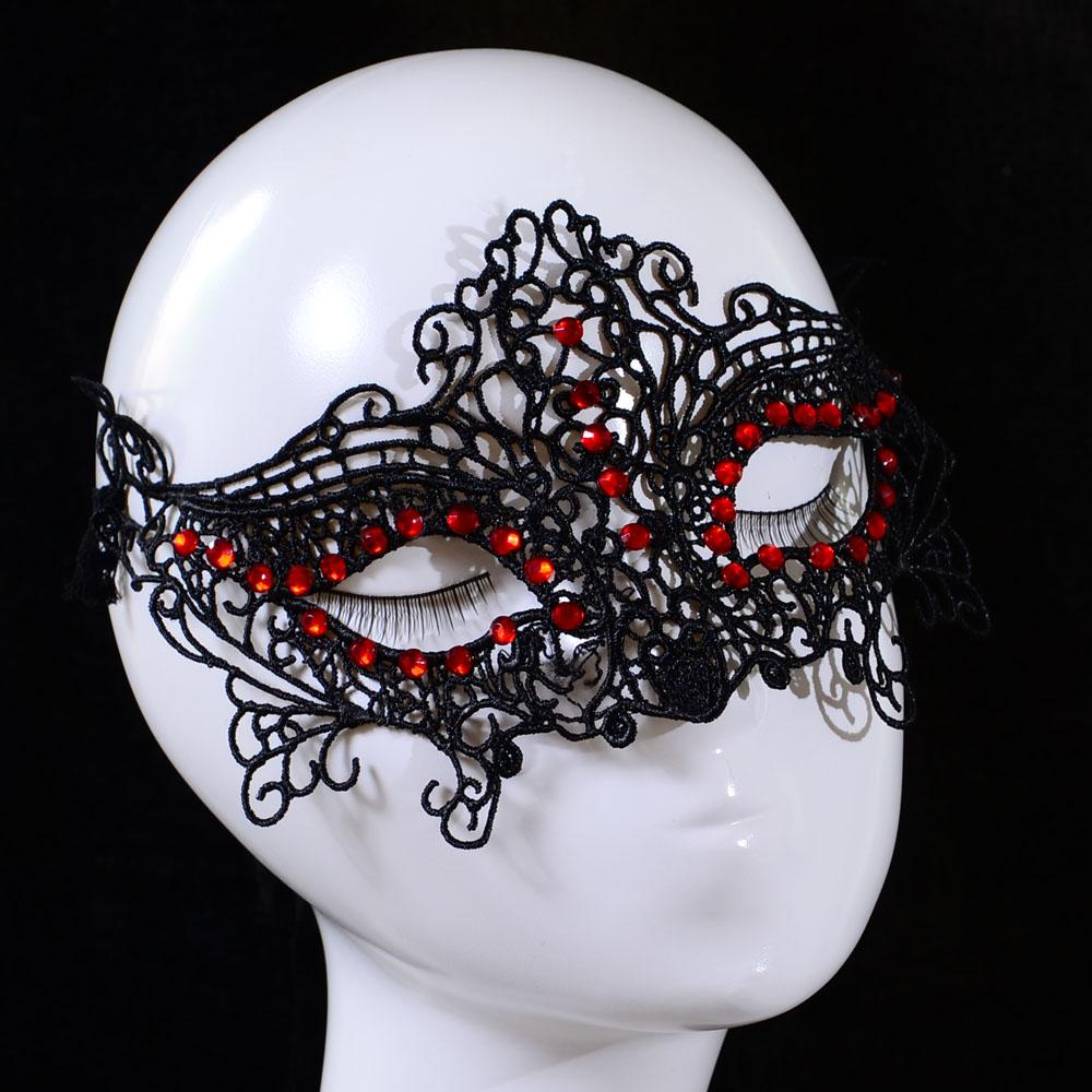New Design Women Lace Face Eye Mask Masquerade Ball Red Crystal ...