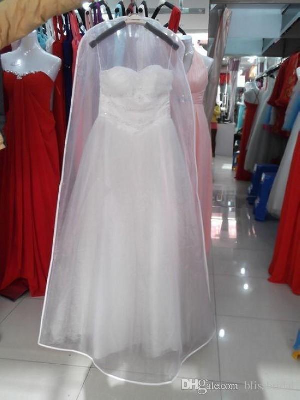 Nouveau tout blanc aucun logo moins cher robe de mariée robe sac housse du vêtement stockage stockage antipoussière bridal accessoires pour mariée livraison gratuite