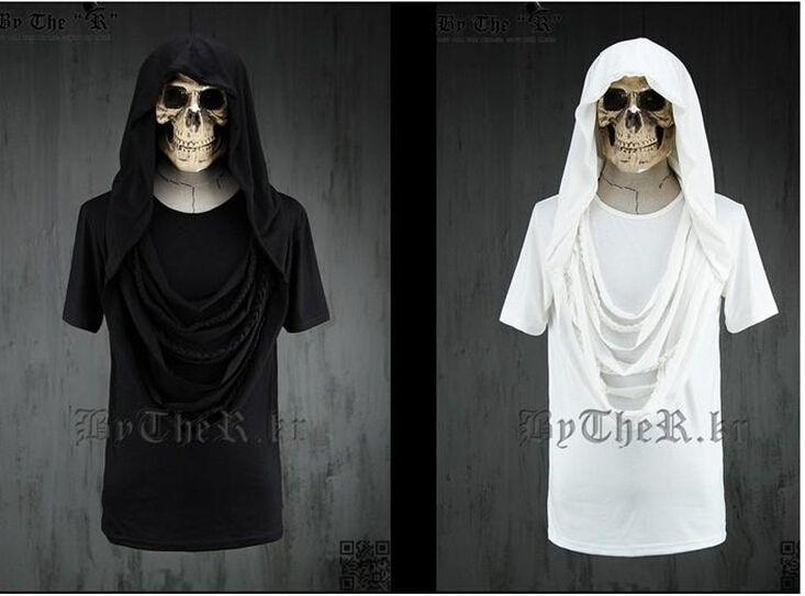 T Shirt Tyga Cool Hip Hop White/Black Solid Color Hood T Shirt Tee ...