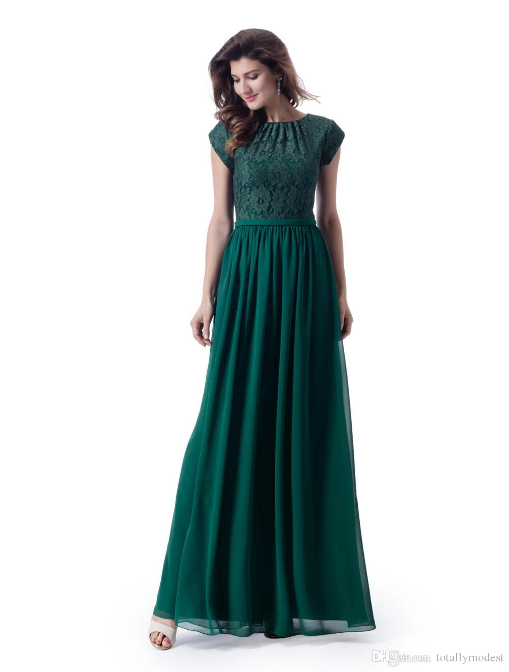 Formal New Arrival Green Modest Bridesmaid Dresses With Lace Top Chiffon Skirt Simple Sleeved Temple LDS Wedding Party Guest Dress