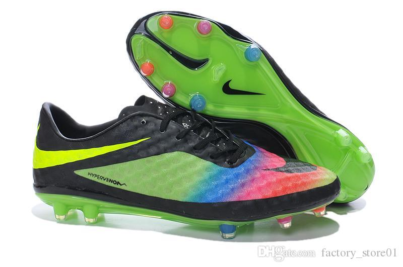 Nike Men Soccer Boot Nike Mens Soccer Shoes Men Football Boots Rainbow  Colors Best Nike Hypervenom Phantom Premium FG Neymar size 39-45