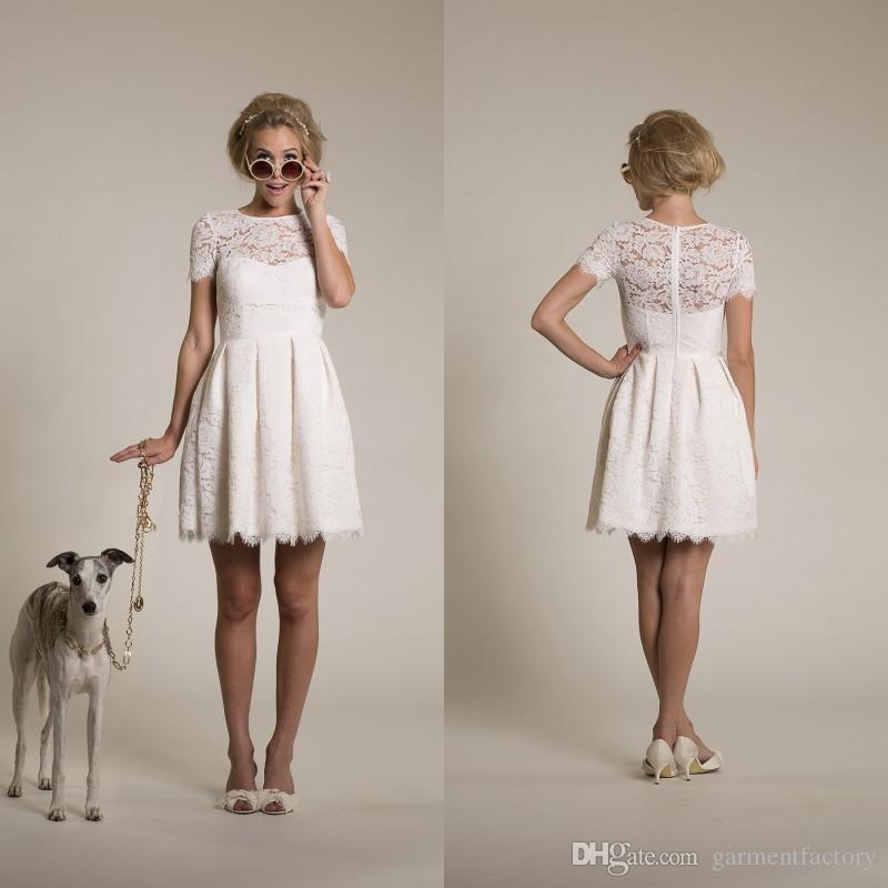 Einfache kurze Brautkleid 2015 Neue Juwel Ausschnitt Eine Linie über Knie kurze Ärmel weiße Elfenbein Spitze Vintage Strand Brautkleider 2015