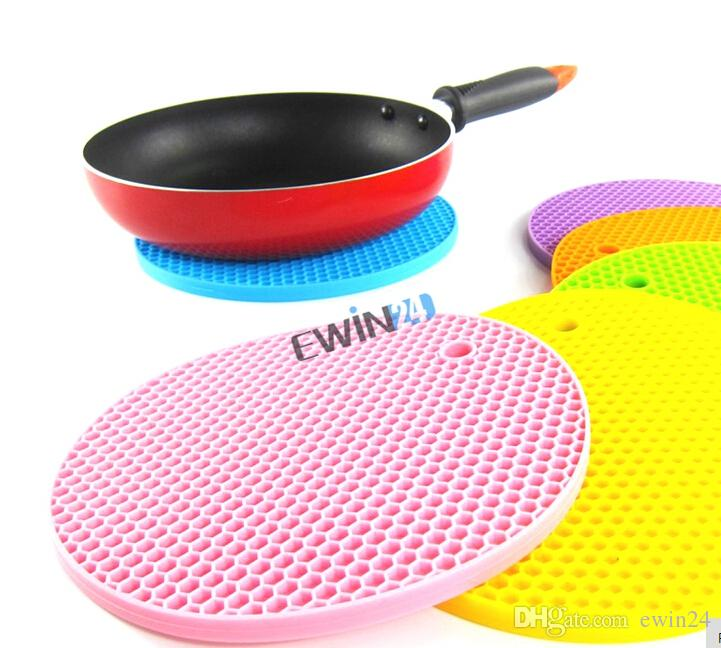 Silicone Round Non-slip Heat Resistant Mat Coaster Cushion Placemat Pot Holder Assorted colors 100% New Durable