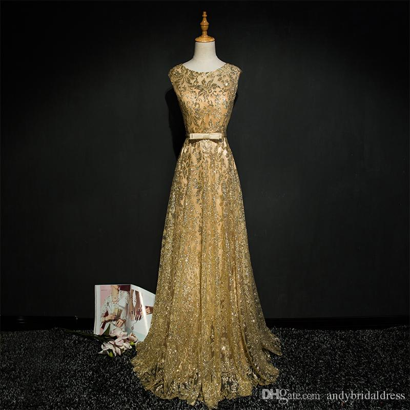 Bling Bling Golden Arabic Evening Dresses Sequined Lace Prom Dresses Scoop  Neckline A Line Formal Dresses Long Gowns For Celebrity Party Vintage Lace  Prom ... 5a6ac79ed87b