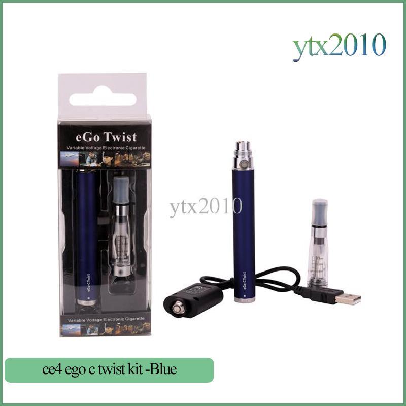 eGo-c Twist Blister Kits E CIG 1.6ml Ego CE4 Zerstäuber Ego C Twist Batterie E Zigarette 1100mah 900mah 650mah einstellbare Spannung 3.2V bis 4.8V