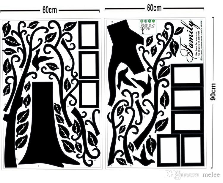 Détail 1800 * 4500mm Grande Taille Noir Famille Cadres Photo Arbre Stickers Muraux BRICOLAGE Décoration de la Maison Stickers Muraux Art Moderne Murales pour Salon