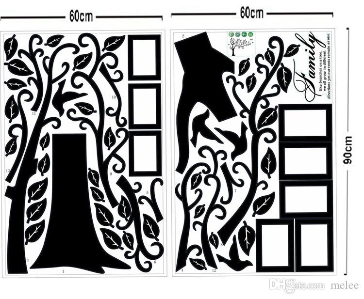 Einzelverkauf 1800 * 4500mm große Größen-schwarze Familien-Foto-Rahmen-Baum-Wand-Aufkleber DIY Hauptdekoration-Wand-Abziehbilder Moderne Kunst-Wandtapeten für Wohnzimmer