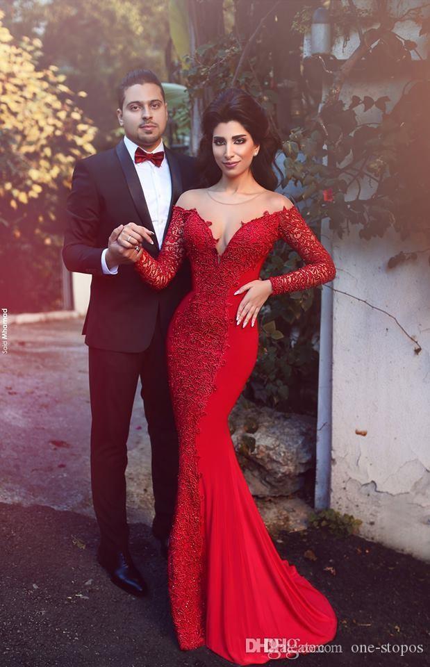 Arabe rouge 2017 nouvelles robes de soirée manches longues dentelle sexy dentelle sirène fête de bal robes de bal pure cou couvert bouton arrière vestidos de fiesta