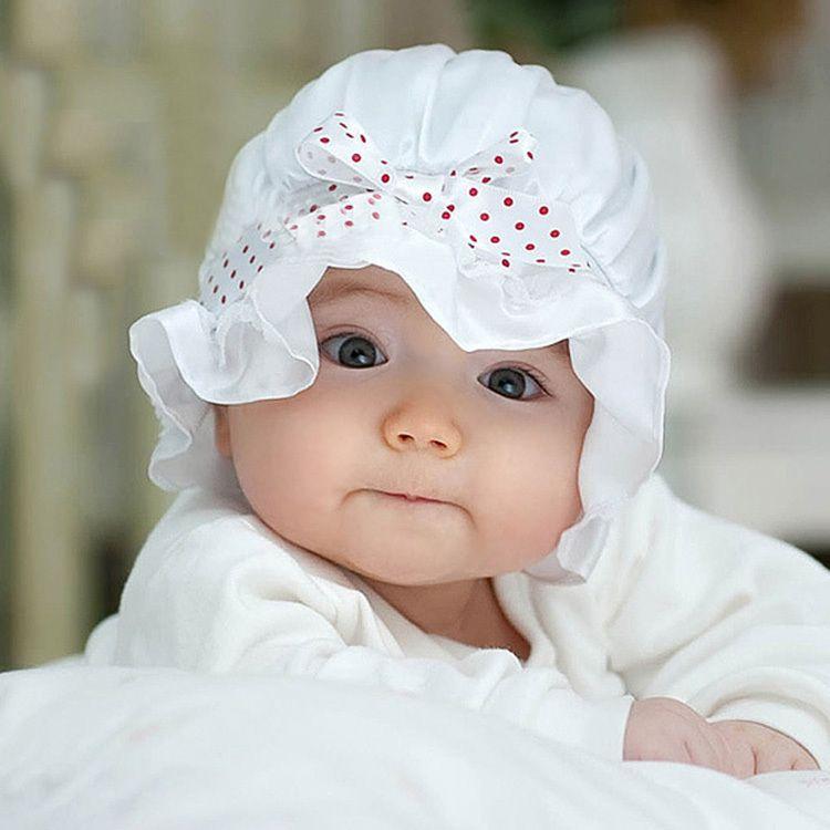 e562afff8 Newborn Baby Girl Boy Summer Sun Dots Cute Lace Bow Knot Beanie Hat ...