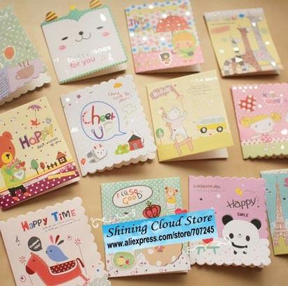 Free Shipcute Cartoon Mini Card Birthday Fold Small Greeting