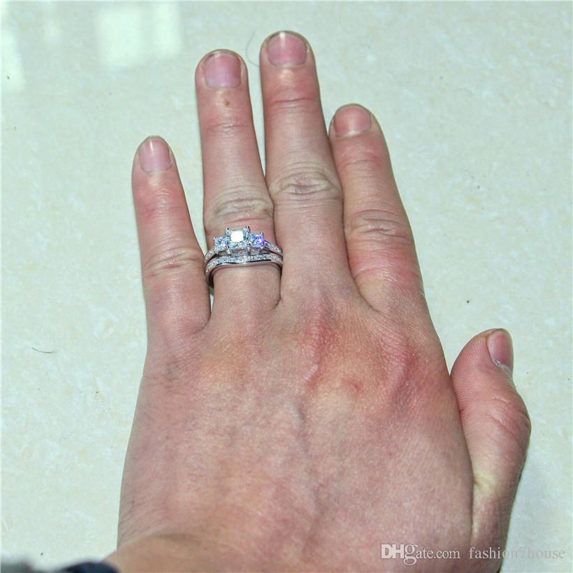 Retro silod 10KT Beyaz altın dolgulu Kare Üç taş Benzetilmiş Pırlanta CZ Yüzük Seti 2-in-1 Düğün Gelin Yüzükler Kadınlar için Boyutu 5-10