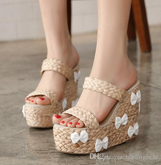 7f8f29801 Sweet Cute Bowtie Straw Woven Sandals Slippers High Platform Wedge Sandals  Women Shoes Size 35 To 39 Jesus Sandals Black Wedges From Tradingbear