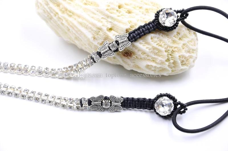 New Women Rhinestone Hairband Handmade with Crystal Braided Butterfly Hair Accessories Fashion High Quality Hair Jewelry for Wholesale