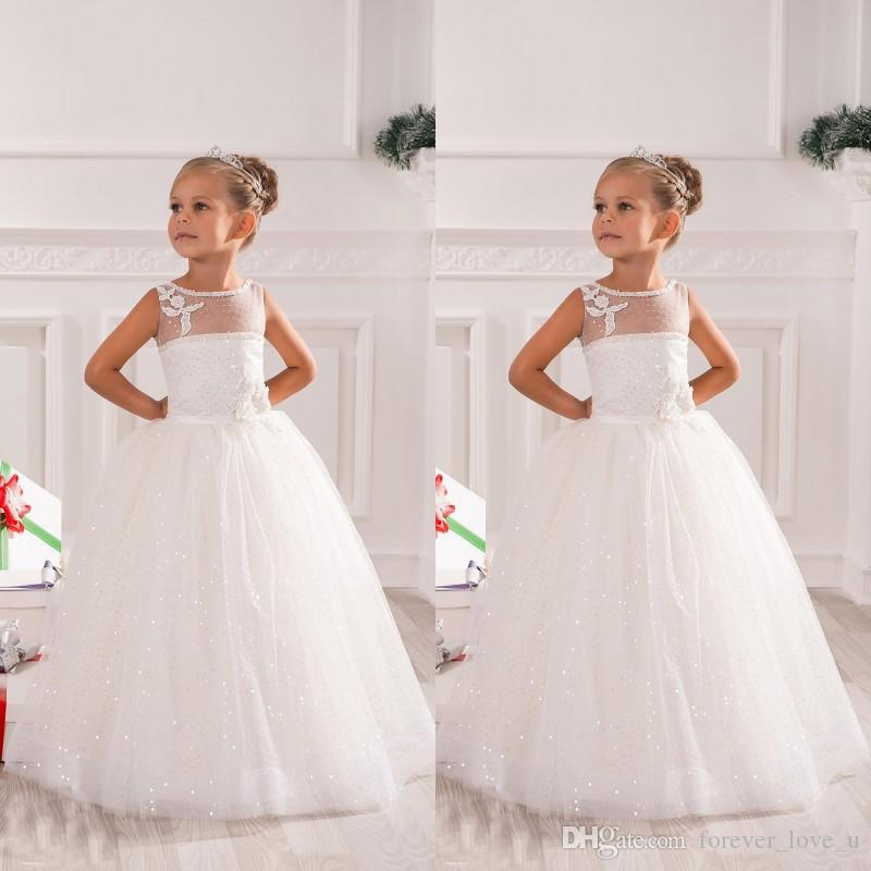 d4453bd8f8a1 Sparkly Flower Girl Dresses A Line Sheer Bateau Neck Sleeveless Bling Bling  Sequins Tulle Little Bride Gowns With Handmade Flowers Appliques Black  Flower ...