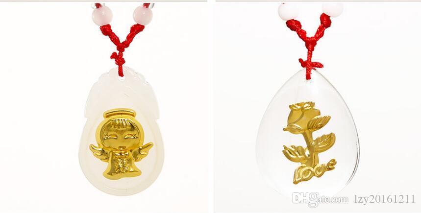 Guanyin maitreya or jade pendentif jade blanc incrusté de jinmao angel girl collier pendentif A1