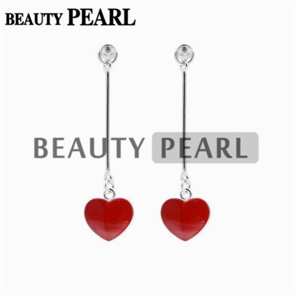 HOPEARL 쥬얼리 귀걸이 붉은 심장 드롭 925 스털링 실버 귀걸이 여자 보석 DIY 만들기