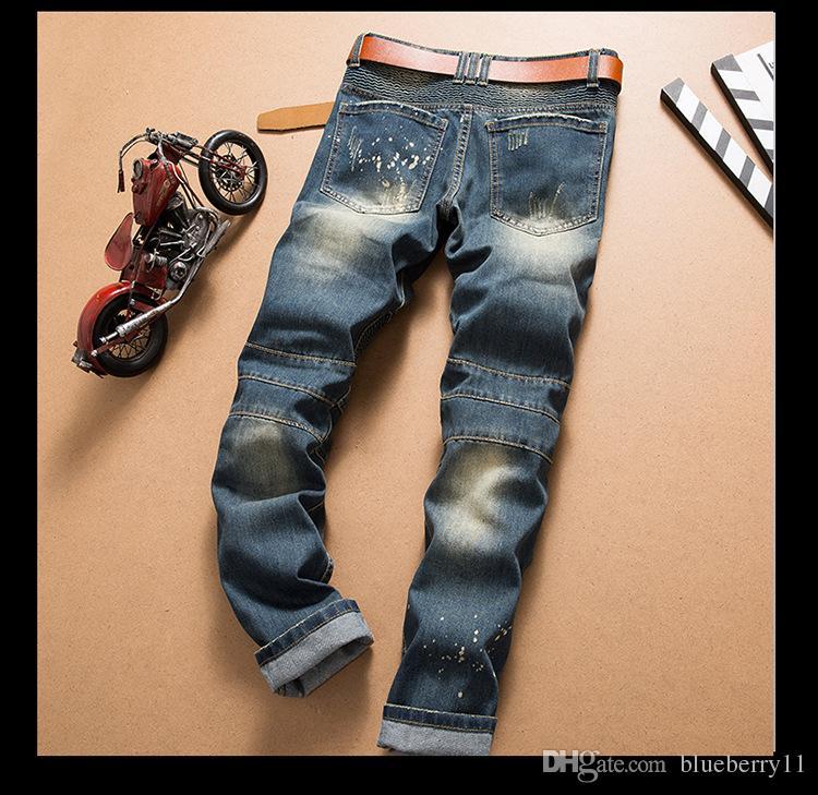 Moda Yeni Erkekler Jeans Erkek Sıkıntılı Ripped Jeans Modacı Düz Biker Motosiklet Jeans Nedensel Kot Pantolon Streetwear Stil Soğuk