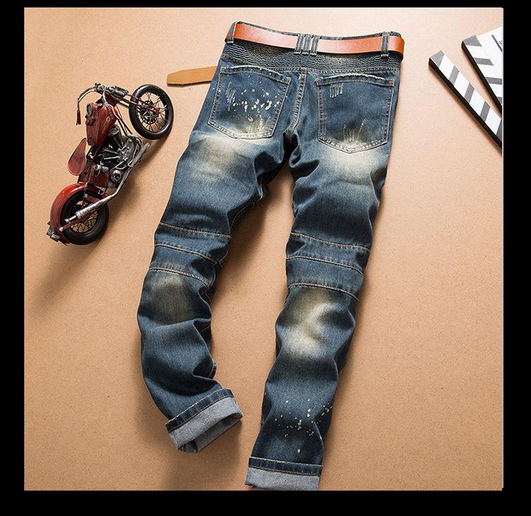 Moda Yeni Erkekler Kot Serin Erkek Sıkıntılı Yırtık Kot Moda Tasarımcısı Düz Motosiklet Biker Jeans Nedensel Denim Pantolon Streetwear Tarzı