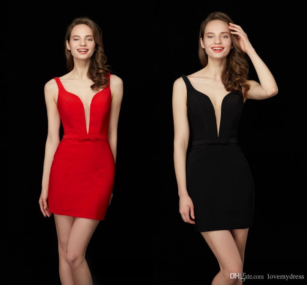 Simple Cheap Red Black Short Cocktail Dress 2019 Deep V Neck ...