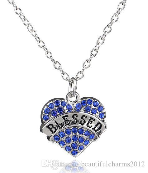 Blue Rhinestones Heart Pendant Necklace With Blessed Aunt Nurse MY Girl Mom Best Friend Etc. Words Letters Fit For Family Gift