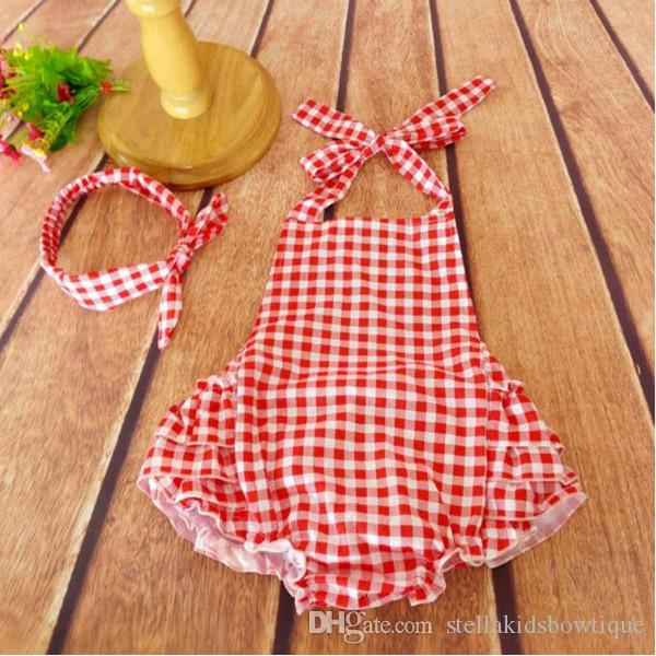 c4a93bea2 Baby Romper Set Red Gingham Bubble Romper Plaid Baby Clothes ...