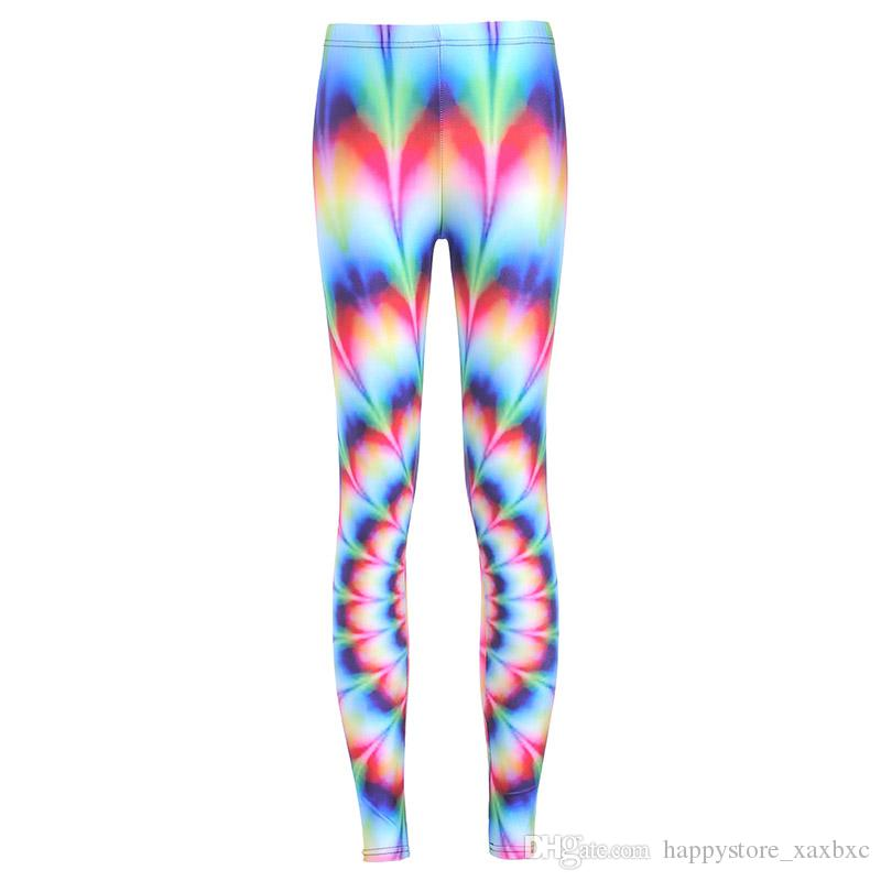 2017 NEW ful Rainbow Stripe Color 3D Prints Sexy Girl Pencil Yoga Pants GYM Fitness Workout Polyester Women Leggings Plus Size
