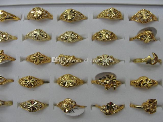 Prezzo poco costoso Donna ragazza Anelli mix Cuore Trifoglio Fiore formato argento oro Anello gioielli moda regalo di San Valentino /