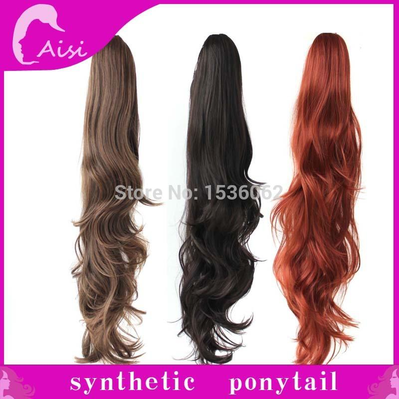 29 Inch Synthetic Lady Wowen Curly Wavy Claw Clip Ponytail Pony