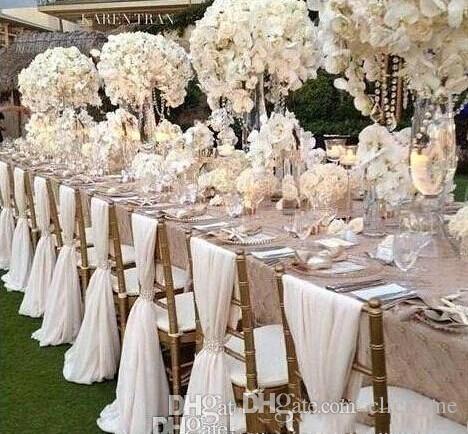 Silla barata simple Cubierta de la silla de la boda de la chifería Cubierta de la silla de novia romántica Silla de banquete de la fiesta de la boda de la boda suministros de boda Envío rápido